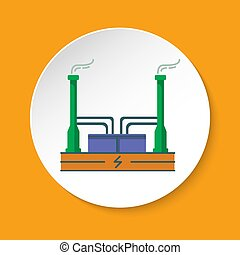 Geothermal power plant icon in flat style on round button....