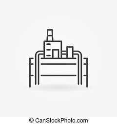 Geothermal power plant icon - vector minimal symbol or...