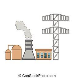 Geothermal power plant image. Vector illustration design