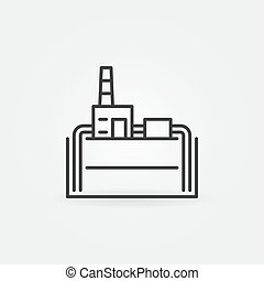 Geothermal power plant line icon. Vector industrial building...