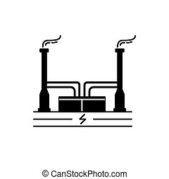 Geothermal power plant silhouette icon in flat style -...