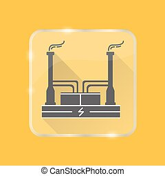 Geothermal power plant silhouette icon in flat style on...