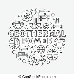 Geothermal power round illustration - vector renewable...