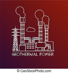 Geothermal power station. Linear illustration in a flat...
