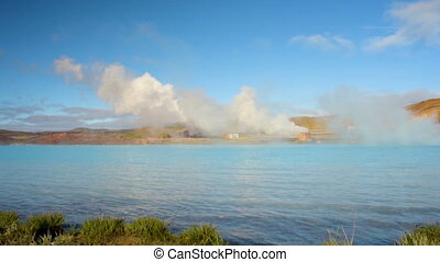 Geothermal power station near Myvatn lake in Iceland. Alternative energy and environmental conservation concept.