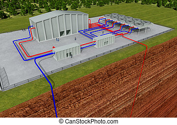 Geothermal system with cutting through the earth and deep ...