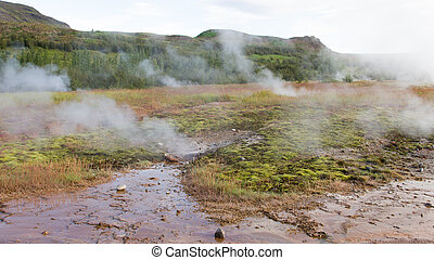 Geothermally active valley of Haukadalur - Southwest Iceland