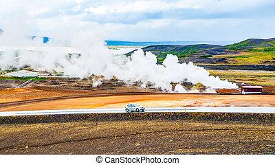 geothermisch, aktivität, mit, rauchwolken, an, myvatn, see,...