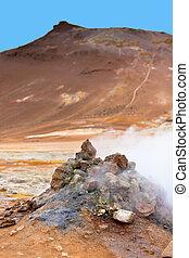 geothermisch, bereich, hverir, island
