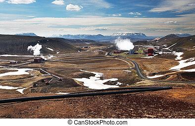 geothermisch, station, energie, macht