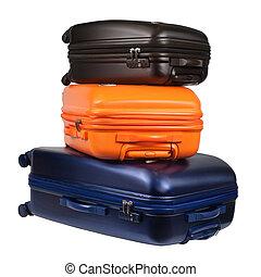 gepäck, koffer, freigestellt, drei, polycarbonate, weißes, bestehen