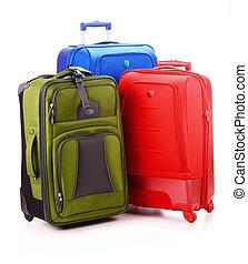 gepäck, koffer, freigestellt, groß, weißes, bestehen