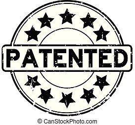 gepatenteerde, grunge, postzegel, rubber, zwarte achtergrond, zeehondje, woord, witte , ster, ronde, pictogram