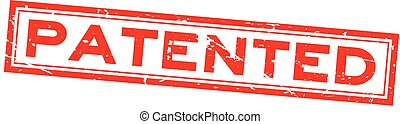 gepatenteerde, plein, woord, postzegel, rubber, achtergrond, zeehondje, grunge, wit rood