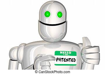 gepatenteerde, woord, render, robot, illustratie, beschermd, ontwerp, technologie, 3d