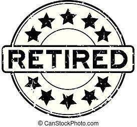 gepensioneerd, postzegel, rubber, zwarte achtergrond, zeehondje, grunge, witte , ster, ronde, pictogram