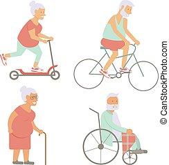 gepensioneerd, senior, spandoek, bejaarden