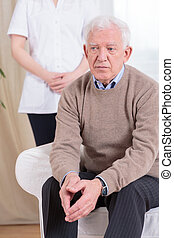 gepensioneerde, levend, in, verpleeghuis