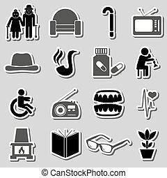 gepensioneerde, set, eps10, thema, burger, senior, stickers