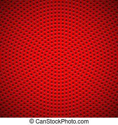 geperforeerde, model, cirkel, rode achtergrond