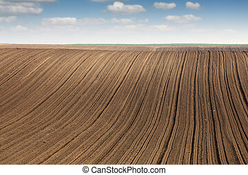 geploegde, lente, akker, landelijk, landbouw, landscape