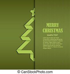 geplooide, boompje, ineengevouwen , papier, groene, mal, kerstmis kaart