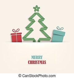 geplooide, boompje, kadootjes, mal, kerstmis kaart