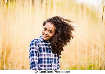 geprüften hemd, afrikanischer amerikaner, field., draußen, ...