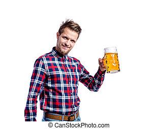 geprüften hemd, bier, hüfthose, besitz, studio- schuß, mann