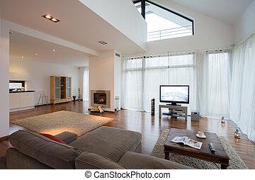 geräumig, luxus, wohnzimmer