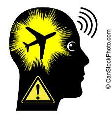 geräusch, flugzeuge, verunreinigung