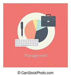 gerência, apartamento, ilustração, conceito