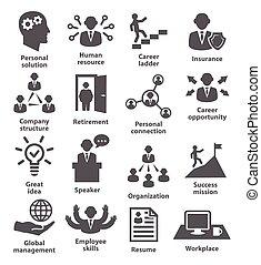 gerência, comércio pessoas, ícones