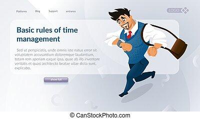 gerência, companhia, conceito, tempo
