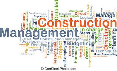 gerência, construção, conceito, fundo