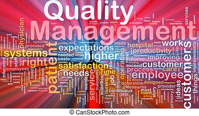gerência, glowing, conceito, qualidade, fundo