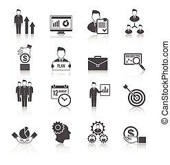 gerência, jogo, ícone
