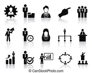 gerência, jogo, ícones negócio