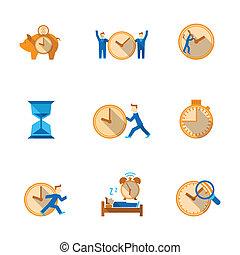 gerência, jogo, ícones tempo