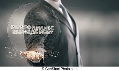 gerência, mão, homem negócios, segurando, novo, desempenho, tecnologias