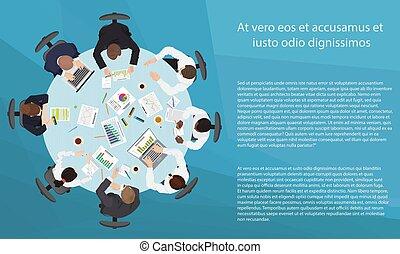 gerência, negócio, ponto, concept., brainstorming, trabalho equipe, tabela, vista., reunião, topo, redondo