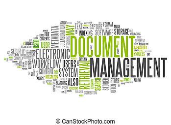 gerência, palavra, documento, nuvem