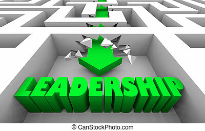 gerência, palavra, ilustração, liderança, labirinto, visão, 3d