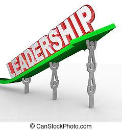 gerência, palavra, liderança, levantamento, seta, equipe,...