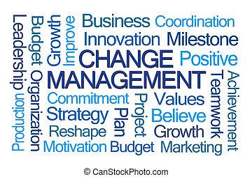 gerência, palavra, mudança, nuvem