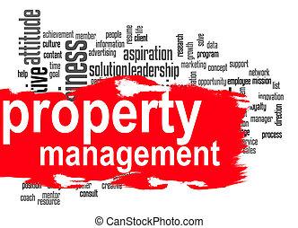 gerência, palavra, nuvem, propriedade, bandeira, vermelho