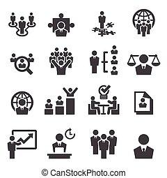 gerência, recursos humanos, ícones