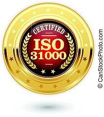 gerência, risco, -, 31000, iso, medalha, certificado