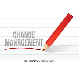 gerência, sobre, notepad, escrito, papel, mudança