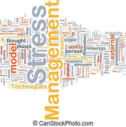 gerência stress, fundo, conceito